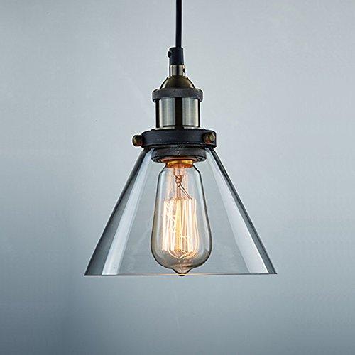 Island Fixture Antique (CLAXY Ecopower Antique Industrial Mini Glass Pendant Lighting 1-Light)