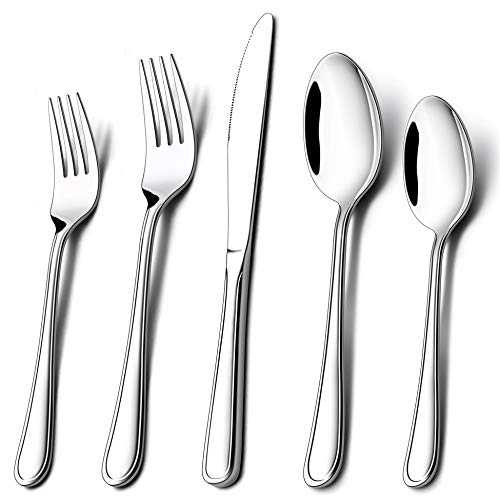 - Silverware Set for 12, LIANYU 60-Piece Flatware Cutlery Set, Stainless Steel Tableware Eating Utensils for Large Family Party Restaurant Hotel Wedding, Mirror Finish, Dishwasher Safe