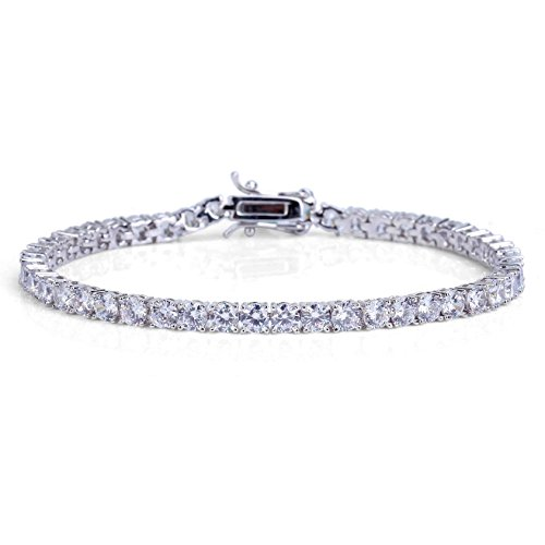 "JINAO 1 Row AAA Gold Silver All Iced Out Tennis Bling 4mm Lab Simulated Diamond Bracelet 8"" (Silver)"