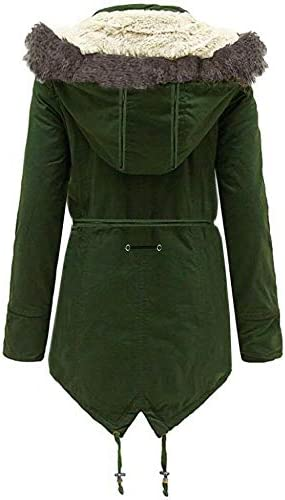 Expert Workwear Womens Plus Size Quilted Padded Jacket Faux Fur Hooded Parka Coat