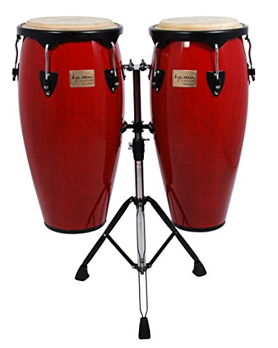 - Tycoon Percussion 10 Inch & 11 Inch Congas Red Finish With Double Stand