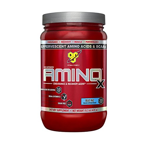 BSN Amino X Post Workout Muscle Recovery & Endurance Powder with 10 Grams of Amino Acids Per Serving, Flavor: Blue Raz, 30 Servings