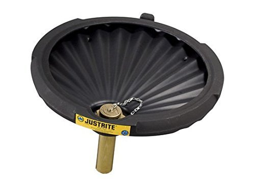Justrite 28681 EcoPolyBlend Polyethylene Spill Control Funnel, 2.5 Gallon Sump Capacity, 21'' Diameter, 3-1/4'' Height, Black, For Flammables