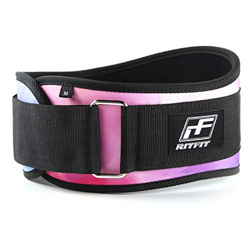 RitFit Weight Lifting Belt - 6-inch Firm & Comfortable Back Support, Best for Workouts at The Gym, Weightlifting or Crossfit. Easily Adjustable, Pink & Red Camo (Galaxy, XS(24-28''))