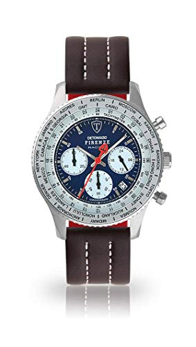 DETOMASO Firenze Racing Mens Watch Chronograph Analogue Quartz Brown Leather Strap Blue dial DT1069-A-895