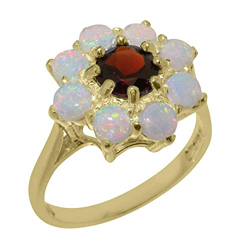 9k Yellow Gold ring with Natural Garnet & Opal Womens Statement Ring - Size 11.25 9k Yellow Gold Garnet Ring