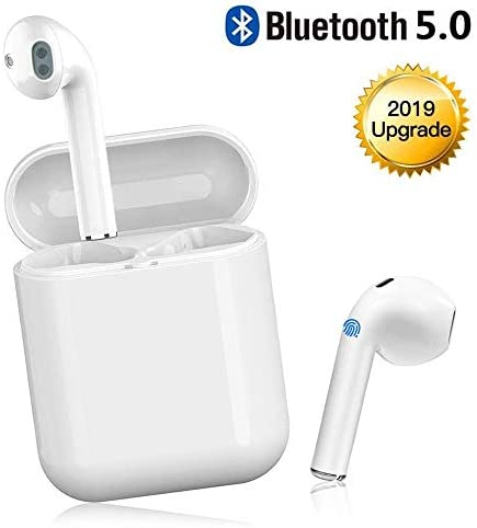 Bluetooth 5.0 Wireless Earbuds with 24Hrs Charging Case Waterproof 3D Stereo Headphones in-Ear Built-in Mic Headset Premium Sound with Deep Bass for Sport Earphones Apple Airpods Earbuds