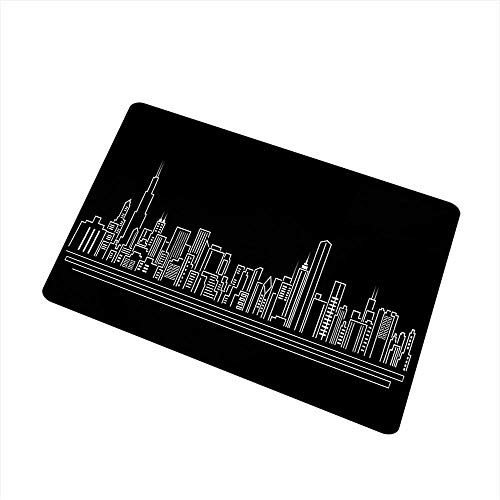 Becky W Carr Chicago Skyline Inlet Outdoor Door mat Line Abstract Style Urban Silhouette of Popular American Town Office Print Catch dust Snow and mud W29.5 x L39.4 Inch,Onyx White