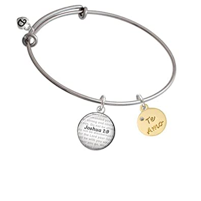 Bible Verse Joshua 1:9 Glass Dome Bangle Bracelet Silvertone Te Amo Disc