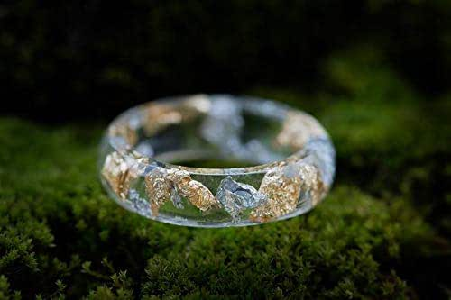 Resin Ring Clear Eco Resin Faceted Ring with Gold Flakes