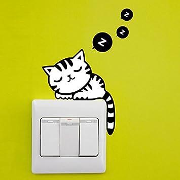 Cartoon black cat wall vinyl sticker home SWITCH bedroom Kitchen