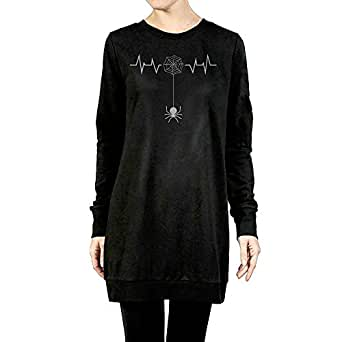 Women's Spider Heartbeat Halloween Long Sleeve Pullover Dress X-Large