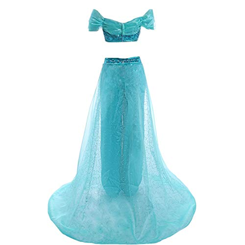 AGLAYOUPIN Adult Women Arabian Princess Dress India Belly Dance Costume Dress Halloween Blue ()