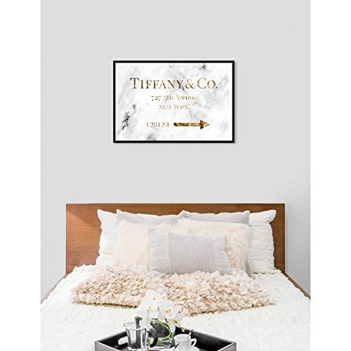 Amazon.com: Oliver Gal Jewelry Road Sign Glam Fashion Framed Art Print on Premium Canvas - White 60x40: Posters & Prints