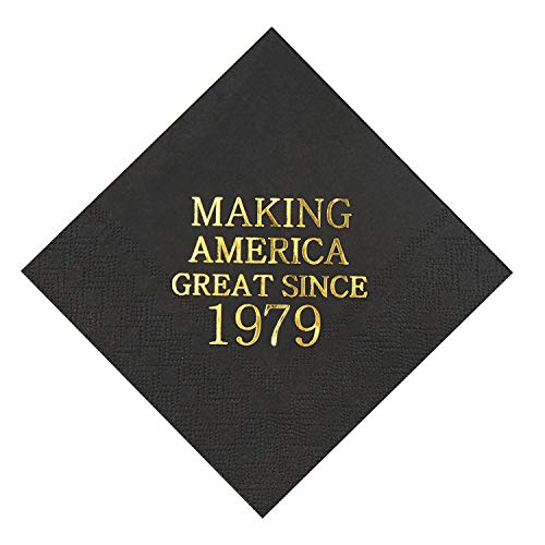 Veronica 40th Birthday Black and Gold Cocktail Napkins Making America Great Since 1979 Decoration Party Supplies 50 Pack 4.9