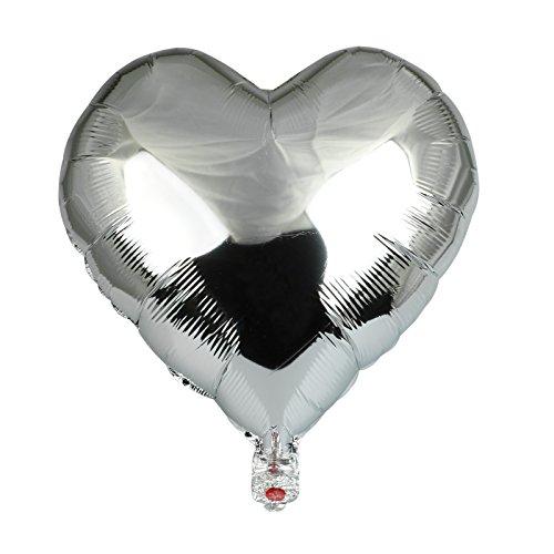 vLoveLife 10pcs Silver Heart Shape Metallic Color Foil Balloons Foil Helium Balloon 18