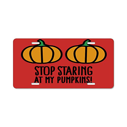 ABLnewitemFrameFF 12inch; X 6inch; Durability Stop Staring at My Pumpkins - Halloween Boobs Car License Plate Frame Novelty Vanity License Plate Tag Sign -