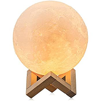 SHENGHUI 5.8 Inch Moon Lamp, Seamless forming 3D Printed, Touch Control,USB Recharge, Dimmable, Yellow and White