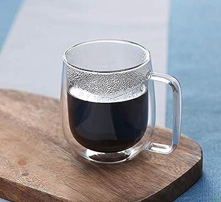 Taza de café de vidrio aislada de doble pared para café capuchino latte té leche 250 ml