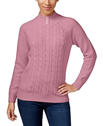 KAREN SCOTT CABLE-KNIT MOCK-TURTLENECK SWE PINK SUEDE XS