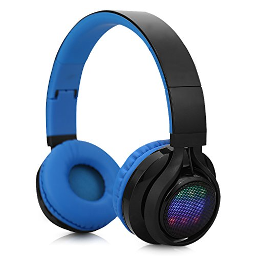 Excelvan Foldable 3.0 Wireless Bluetooth Great Heavy Bass,FM Radio/ TF Card LED Stereo Headphones with Soft Ear Pads
