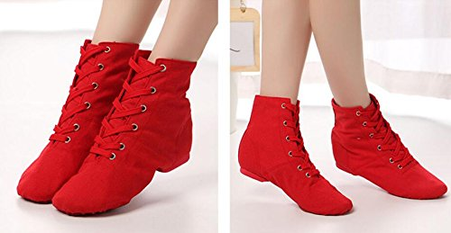 6 Canvas Jazz up Modern Lace Boots Shoes missfiona Over Red Ankle Womens The Ballroom Dance tqOn4gp