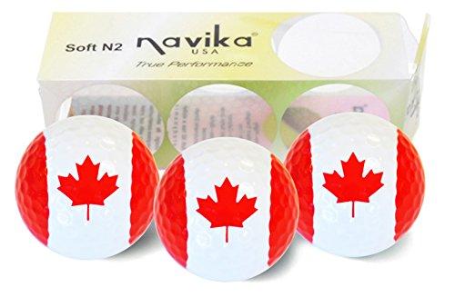 Navika Golf Balls- Canadian Flag Imprint (3-Pack)