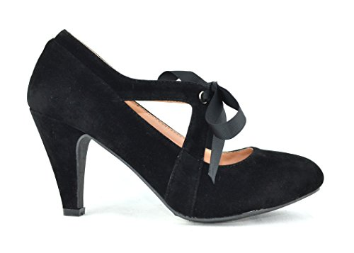 Chase & Chloe Kimmy-62 Women's Vintage Bow Mary Jane High Heel Pump (10, Black) (Chloe Black Shoes)