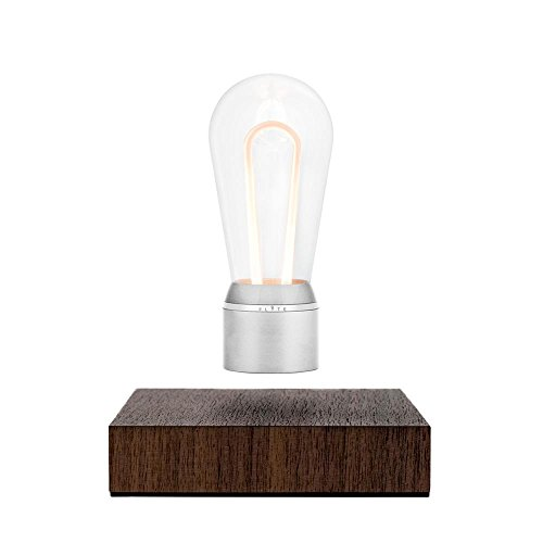 Flyte - Nikola - Original, Authentic Magic Floating Levitating LED Light Bulb Lamp (Walnut Base, Chrome Cap Bulb)