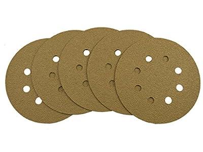 Tigershark Gold Line Hook and Loop Dustless Sanding Disc 5-Inch 8-Hole 5pcs Pack