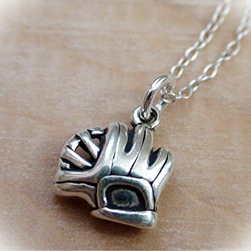 Tiny Catchers Mitt Charm Statement Chunky Pendant Rhinestone Necklace for Women Silver Baseball Softball Glove