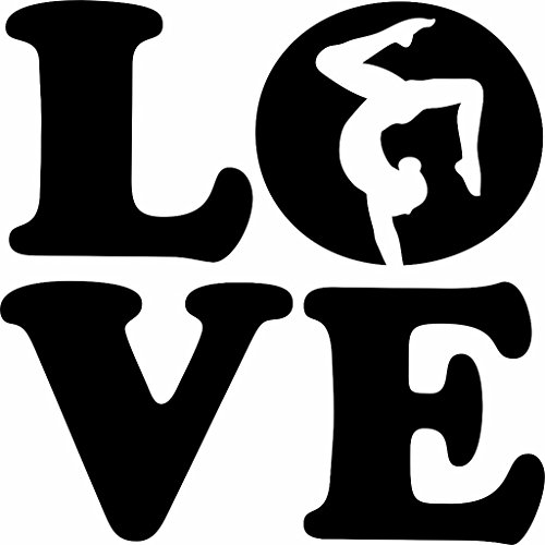 Gymnastics Decals - Love - Gymnastics Kids Girls Sports Quote Vinyl Wall Sticker Decal For Home Decor - 10 Inches x 10 Inches Color Black