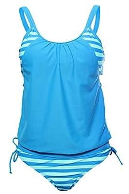 Aleumdr Women's Striped Tankini with Triangle Briefs Swimsuit Swimwear