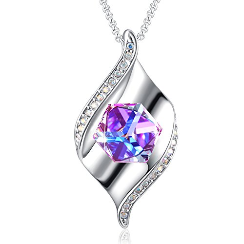 PLATO H Crystal Pendant Necklace with Color Changing ♥Crystal from Swarovski, YOU ARE THE ONLY ONE Women Cube Crystal Pendant Necklace, ♥Gift-Boxed Fine Fashion Jewelry Gift for Mom,Wife or Girlfriend Cube Swarovski Austrian Crystal