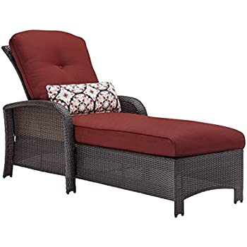 Hanover Strathmere Outdoor Luxury Chaise Lounge Rich Brown/Crimson Red  sc 1 st  Amazon.com : brown chaise lounge - Sectionals, Sofas & Couches