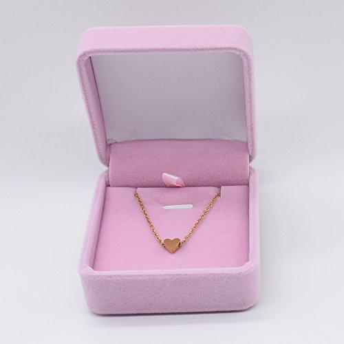 ouzetie Mini Tiny Heart Necklace Pendant with 14K Yellow Gold Plated Sterling Charm Love Choker Pendant for Women Girls Chain by ouzetie (Image #6)