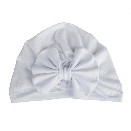 Newborns Hat, Iuhan Baby Cap Tie Indian Hat Elastic Bronzing Bowknot Hedging Cap (White)