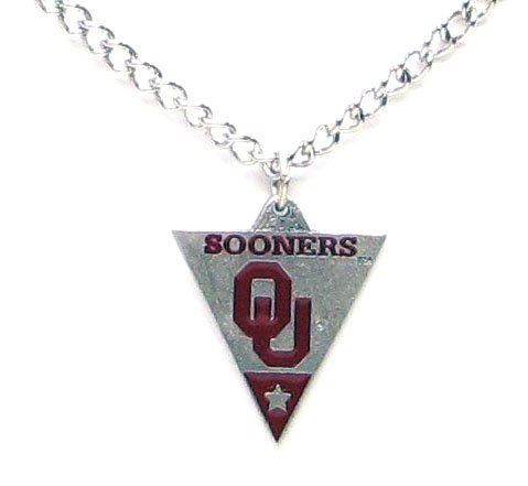 - Oklahoma Sooners Logo Pendant Chain Necklace - NCAA College Athletics Fan Shop Sports Team Merchandise