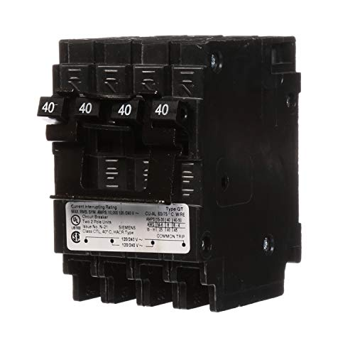 Siemens Q24040CT2 Two 40-Amp Double Pole Circuit Breaker (Quad 40a 240v)