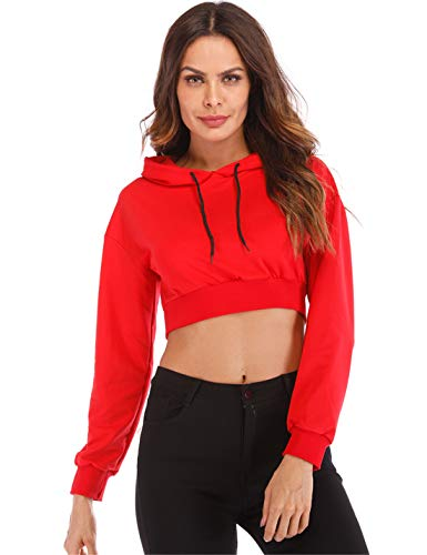 (Hioinieiy Cropped Hoodie Long Sleeve Crop Tops for Women Cute Workout Pullover Sweatshirts Red M)