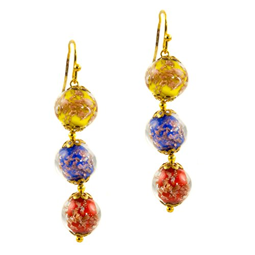Just Give Me Jewels Venice Murano Sommerso Aventurina Glass Bead Dangle Three Bead Earrings-Multi Color