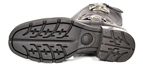 New Rock Herren Wadenlänge Biker Stiefel Schwarz Harness Design Echtes Leder Schuhe