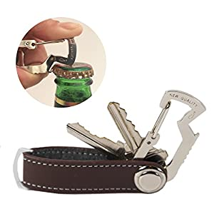 NEW QUALITY (2-in-1) Compact Key Holder - PU Leather - Pocket Smart Carabiner, EASY to Secure your keys and Open Beverages, using BOTTLE OPENER Included (Chocolate)