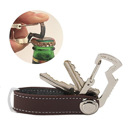 New Quality (2-in-1) Compact Key Holder - PU Leather - Pocket Smart Carabiner, Easy to Secure Your Keys and Open Beverages, Using Bottle Opener Included (Chocolate) by NEW QUALITY