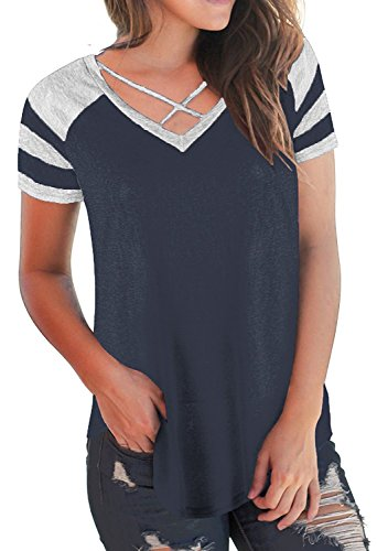 0c0bd5a52 Imily Bela Womens Summer Tops Short Sleeve T-Shirts Casual Color Block V  Neck Tunic