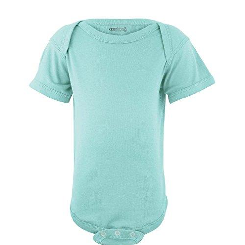 (Apericots Super Soft Cotton Blank Plain Comfy Baby Short Sleeve Bodysuit,Aquamarine,Newborn )