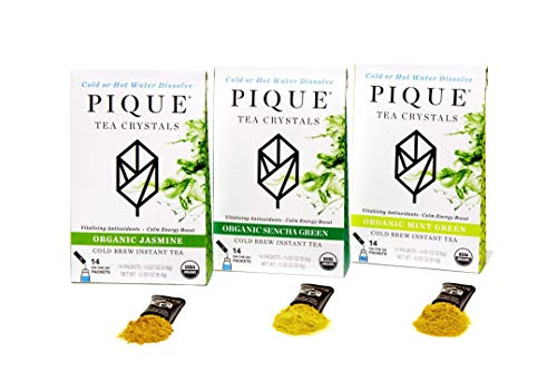 Pique Organic Green Tea Crystals Sampler, Antioxidants, Energy, Gut Health, 42 Single Serve Sticks (Pack of 3) (Best Green Tea Brand For Health)