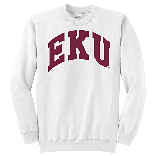 Sweatshirt Kentucky White - Campus Merchandise NCAA Eastern Kentucky Colonels Arch Classic Crewneck Sweatshirt, Large, White