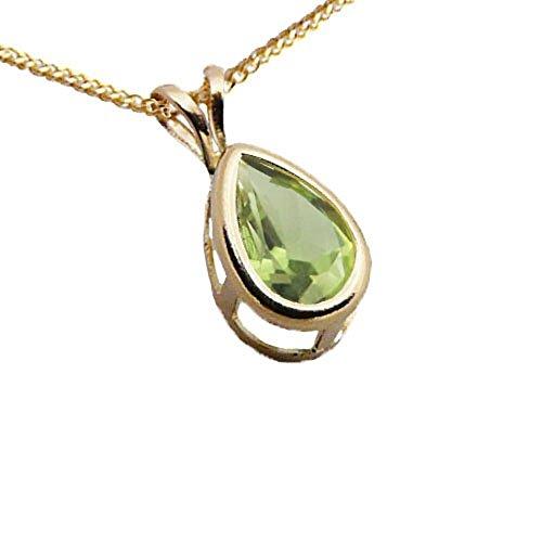 Austral Jewellery Ltd - 9Ct Or Jaune Réel Peridot Larme Pendentif Goutte Avec Une Chaîne 9Ct - Pierre De Naissance Août