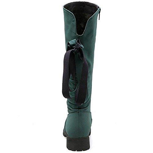 Reißverschluss Damen Ferse Stiefel Mitte Komfort Hohe Coolcept Niedriger Grün Bowknot xIngPwqag